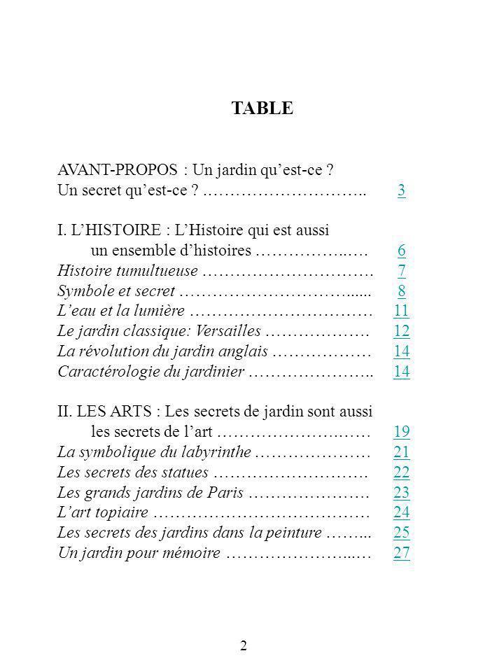 TABLE AVANT-PROPOS : Un jardin qu'est-ce