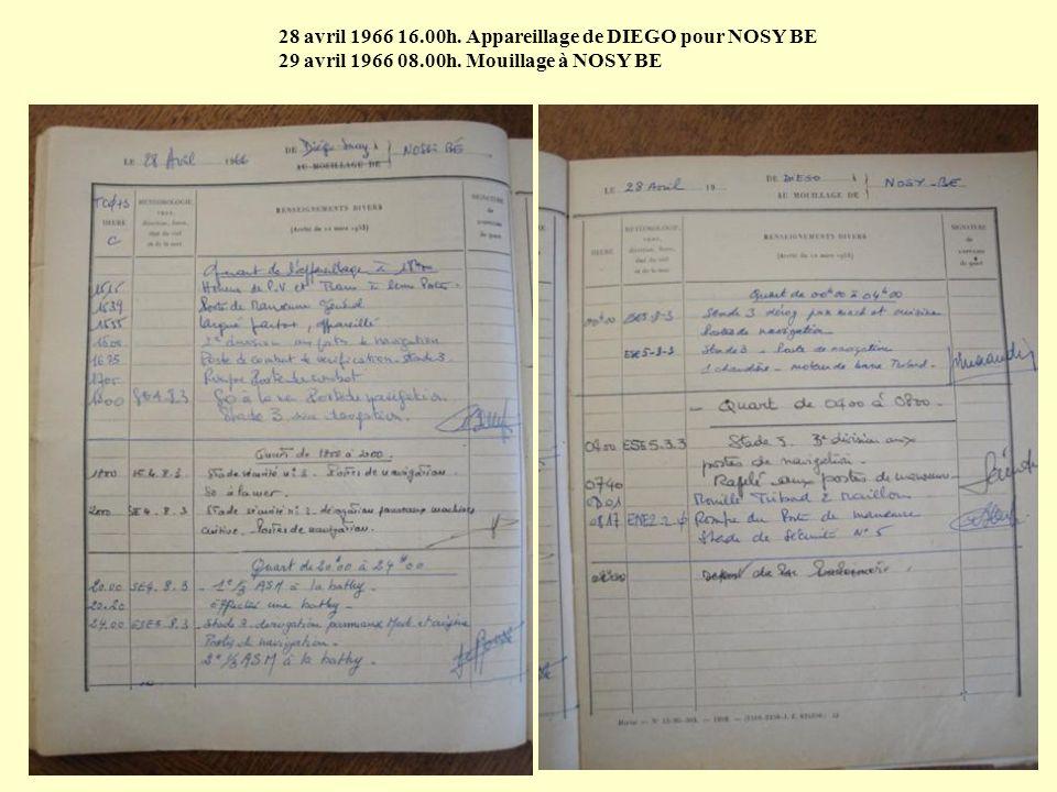 28 avril 1966 16.00h. Appareillage de DIEGO pour NOSY BE