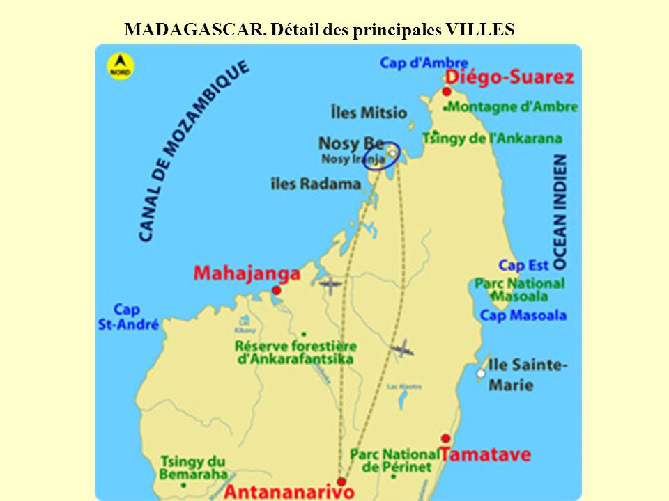 MADAGASCAR. Détail des principales VILLES