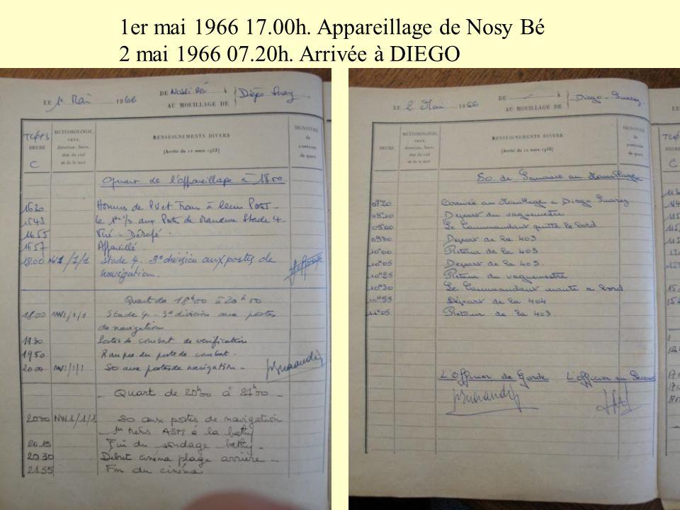 1er mai 1966 17.00h. Appareillage de Nosy Bé