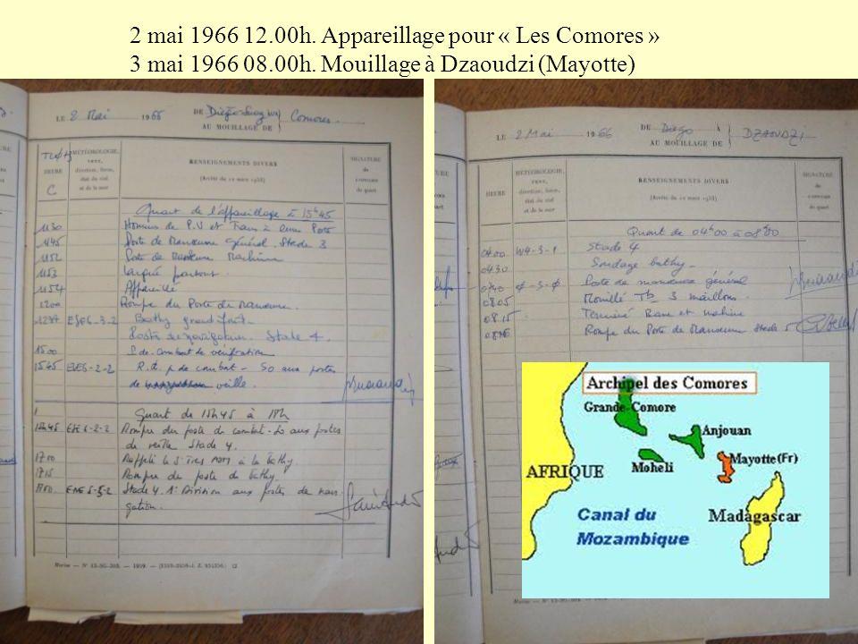 2 mai 1966 12.00h. Appareillage pour « Les Comores »