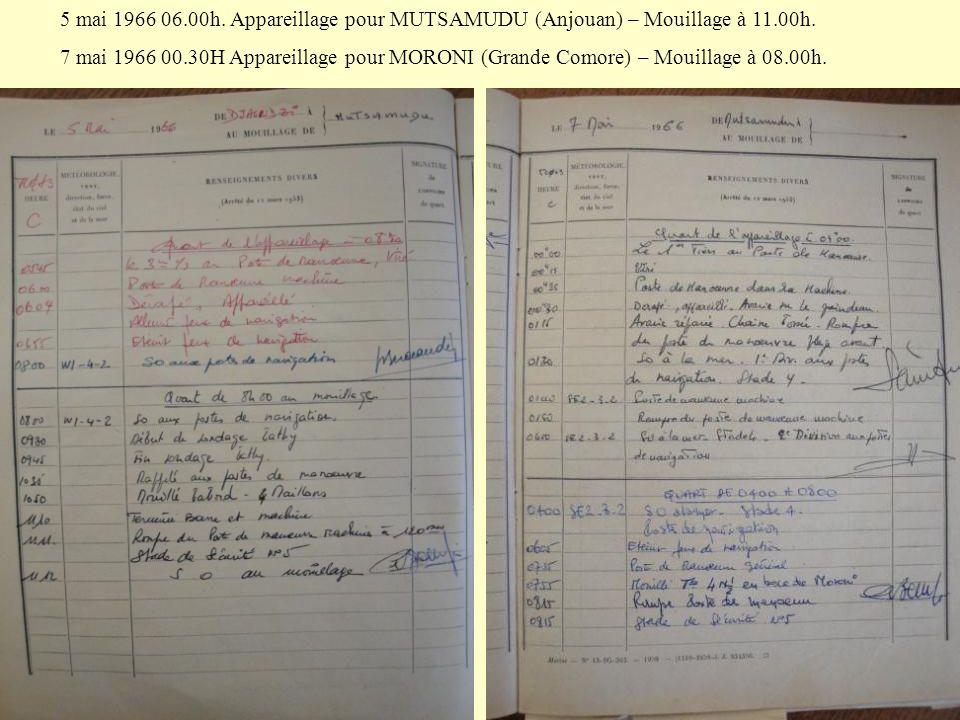5 mai 1966 06.00h. Appareillage pour MUTSAMUDU (Anjouan) – Mouillage à 11.00h.