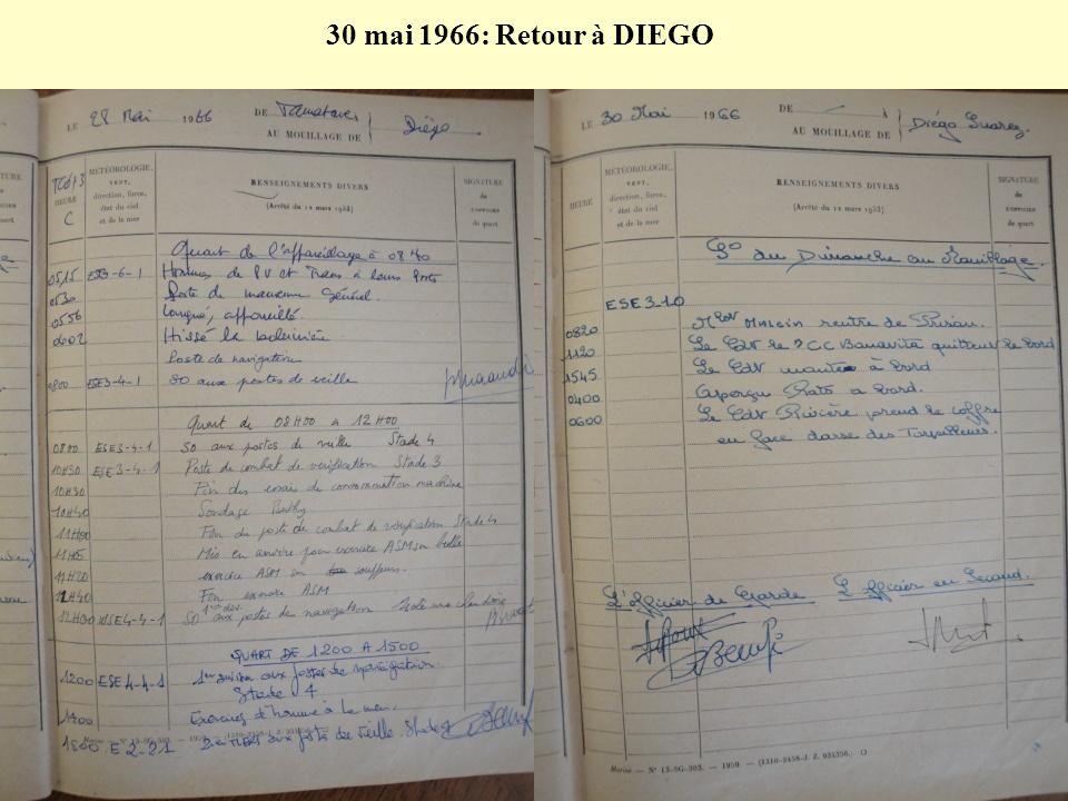30 mai 1966: Retour à DIEGO