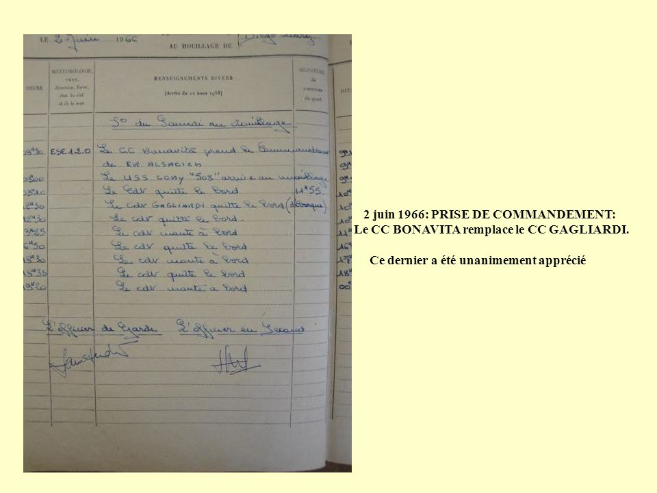 2 juin 1966: PRISE DE COMMANDEMENT: