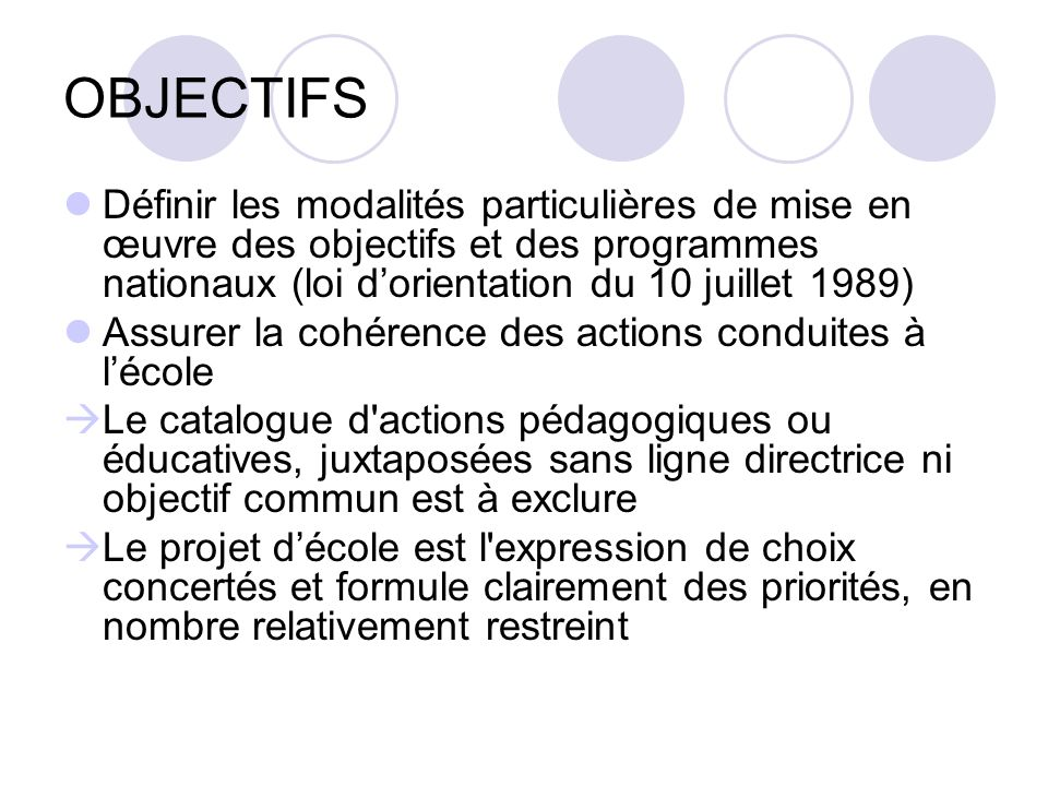 OBJECTIFS Définir les modalités particulières de mise en œuvre des objectifs et des programmes nationaux (loi d'orientation du 10 juillet 1989)