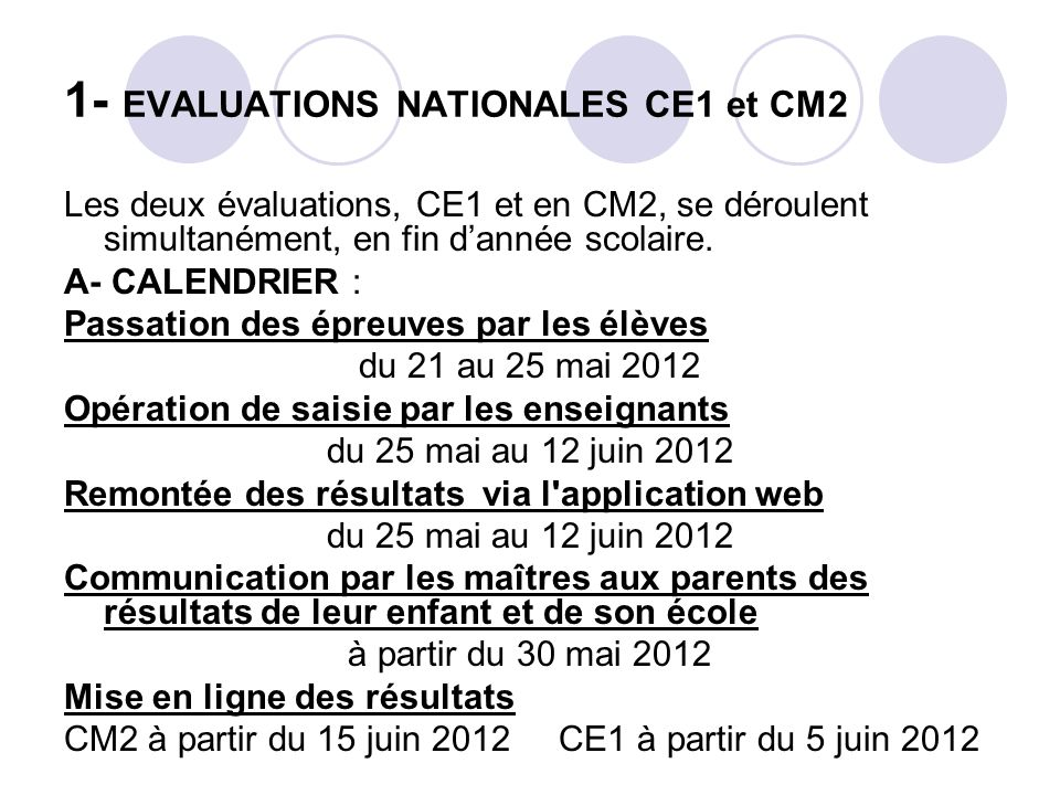 1- EVALUATIONS NATIONALES CE1 et CM2