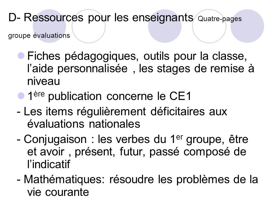 D- Ressources pour les enseignants Quatre-pages groupe évaluations