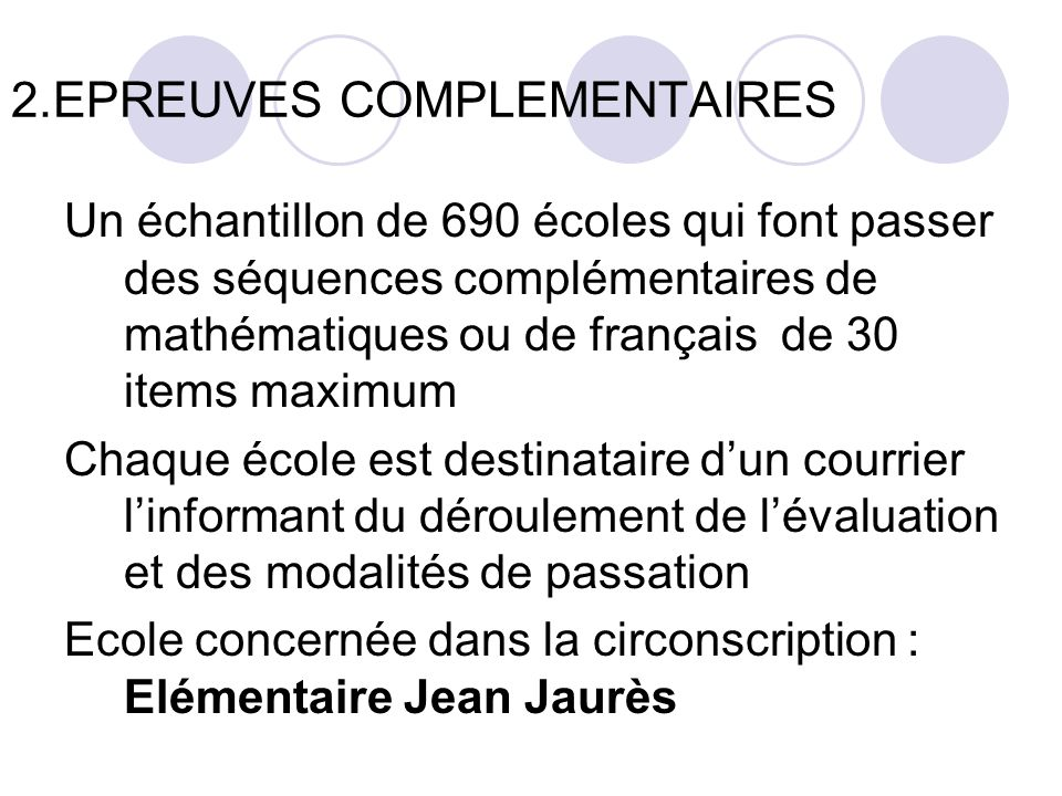 2.EPREUVES COMPLEMENTAIRES