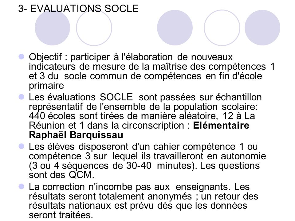 3- EVALUATIONS SOCLE