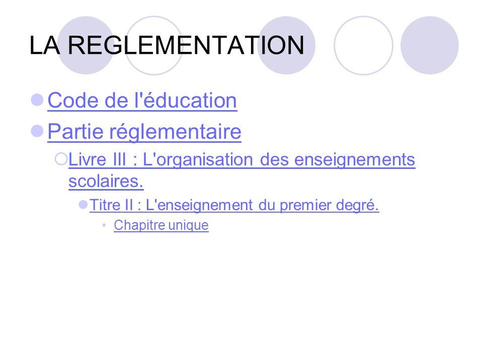 LA REGLEMENTATION Code de l éducation Partie réglementaire
