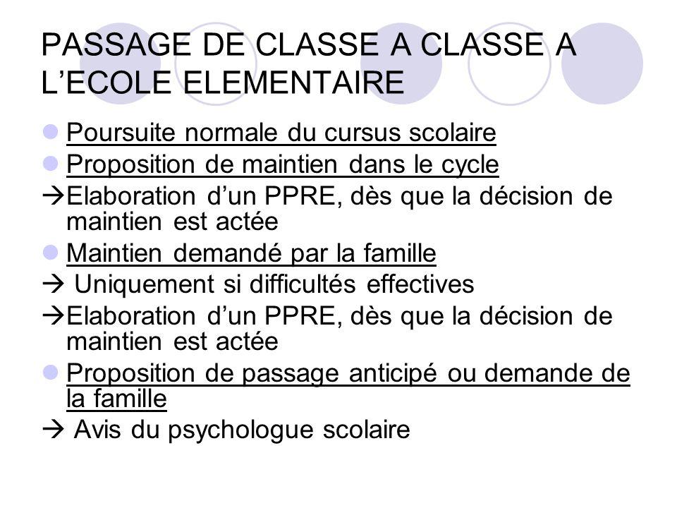 PASSAGE DE CLASSE A CLASSE A L'ECOLE ELEMENTAIRE