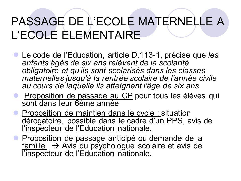 PASSAGE DE L'ECOLE MATERNELLE A L'ECOLE ELEMENTAIRE