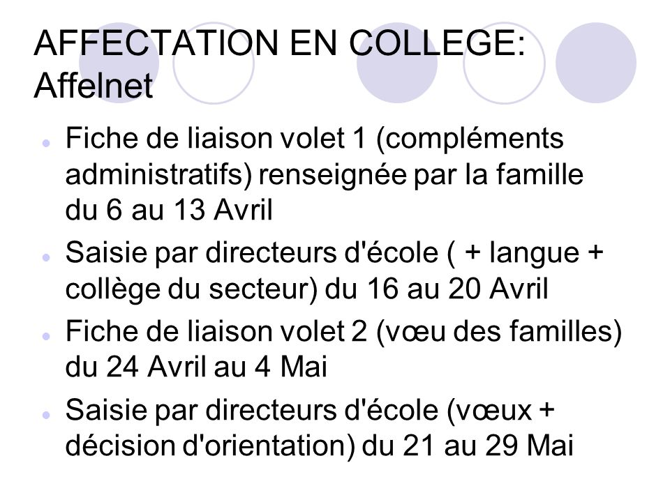 AFFECTATION EN COLLEGE: Affelnet