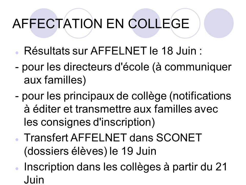 AFFECTATION EN COLLEGE