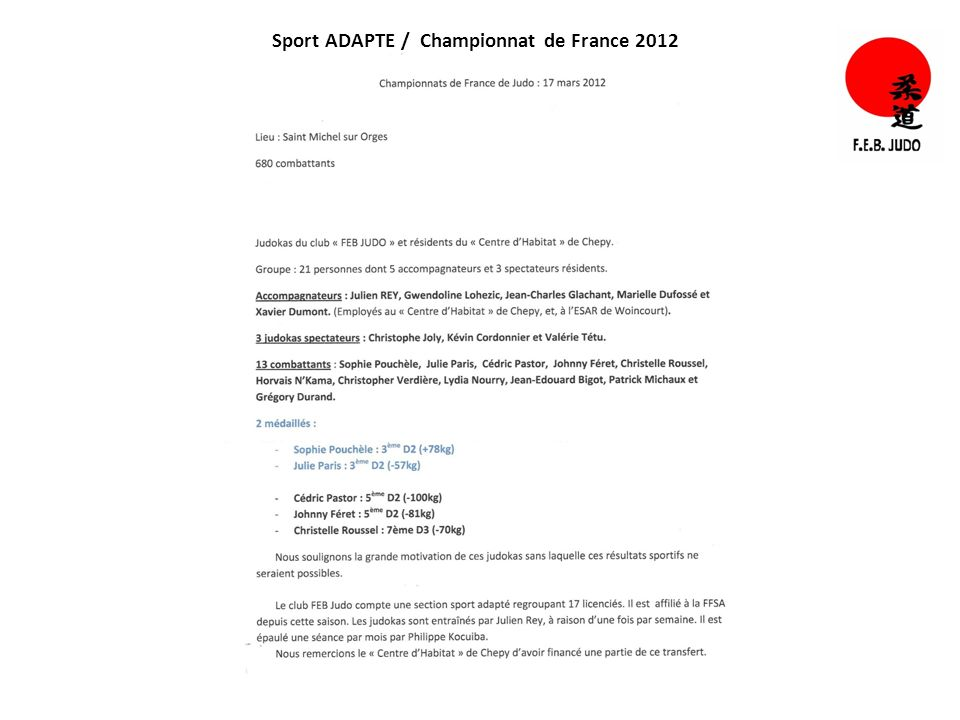 Sport ADAPTE / Championnat de France 2012