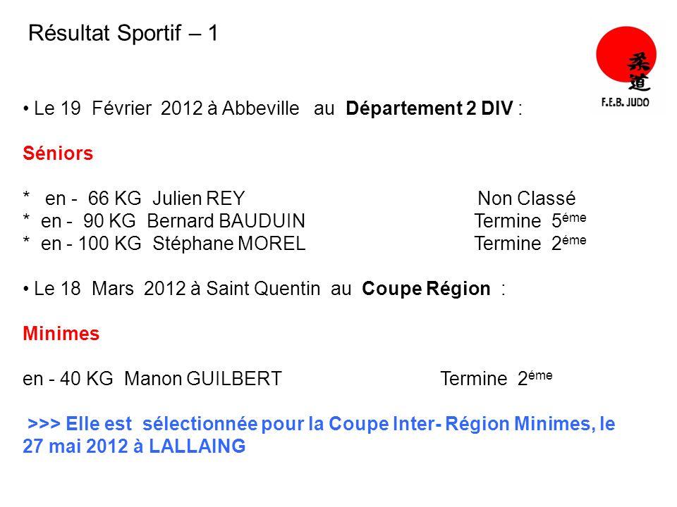 Résultat Sportif – 1 Le 19 Février 2012 à Abbeville au Département 2 DIV : Séniors.