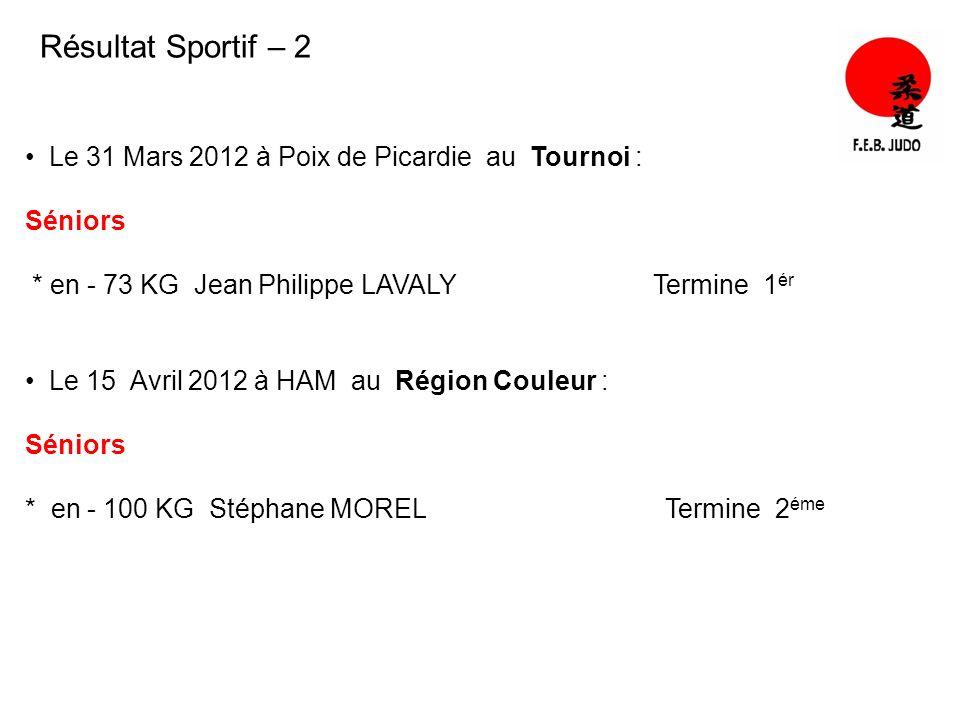 Résultat Sportif – 2 Le 31 Mars 2012 à Poix de Picardie au Tournoi :