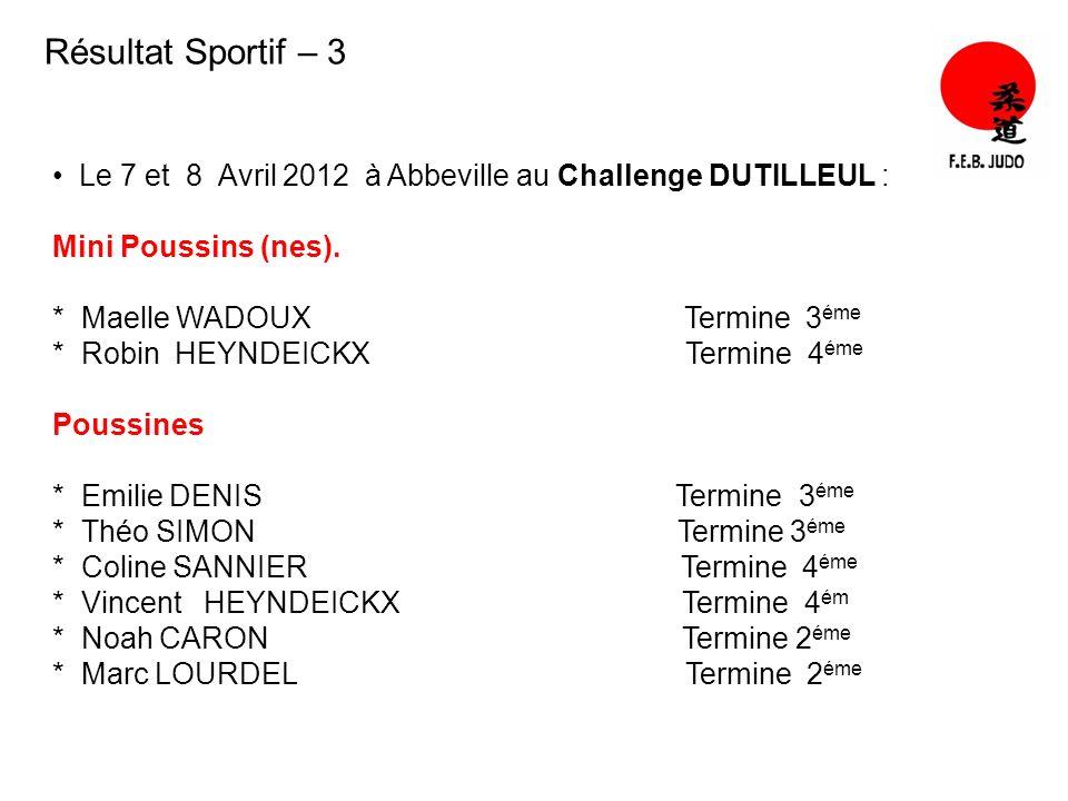 Résultat Sportif – 3 Le 7 et 8 Avril 2012 à Abbeville au Challenge DUTILLEUL : Mini Poussins (nes).