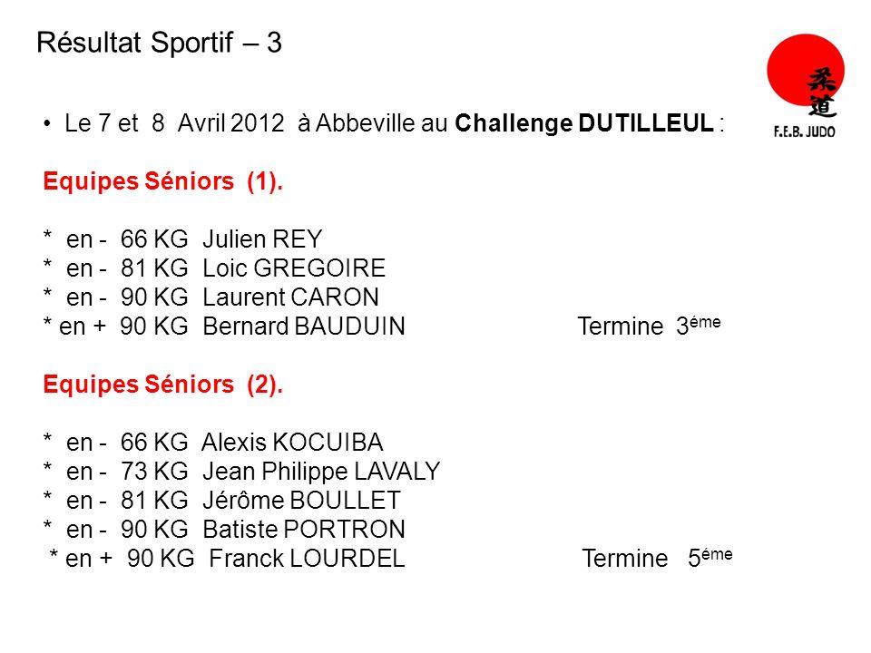 Résultat Sportif – 3 Le 7 et 8 Avril 2012 à Abbeville au Challenge DUTILLEUL : Equipes Séniors (1).