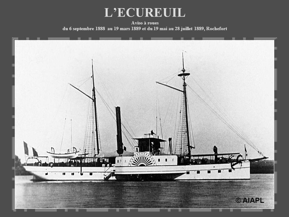 L'ECUREUIL Aviso à roues du 6 septembre 1888 au 19 mars 1889 et du 19 mai au 28 juillet 1889, Rochefort