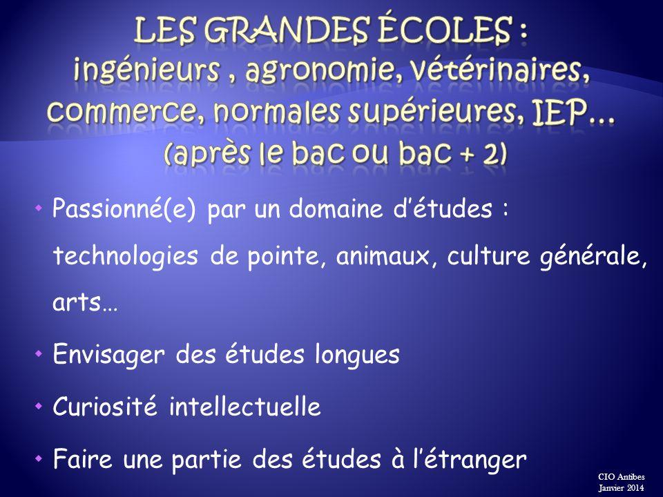 Les grandes écoles : ingénieurs , agronomie, vétérinaires, commerce, normales supérieures, IEP… (après le bac ou bac + 2)