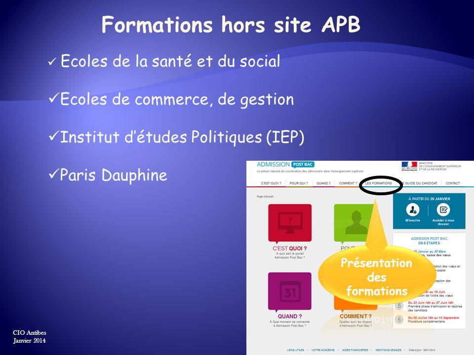 Formations hors site APB Présentation des formations