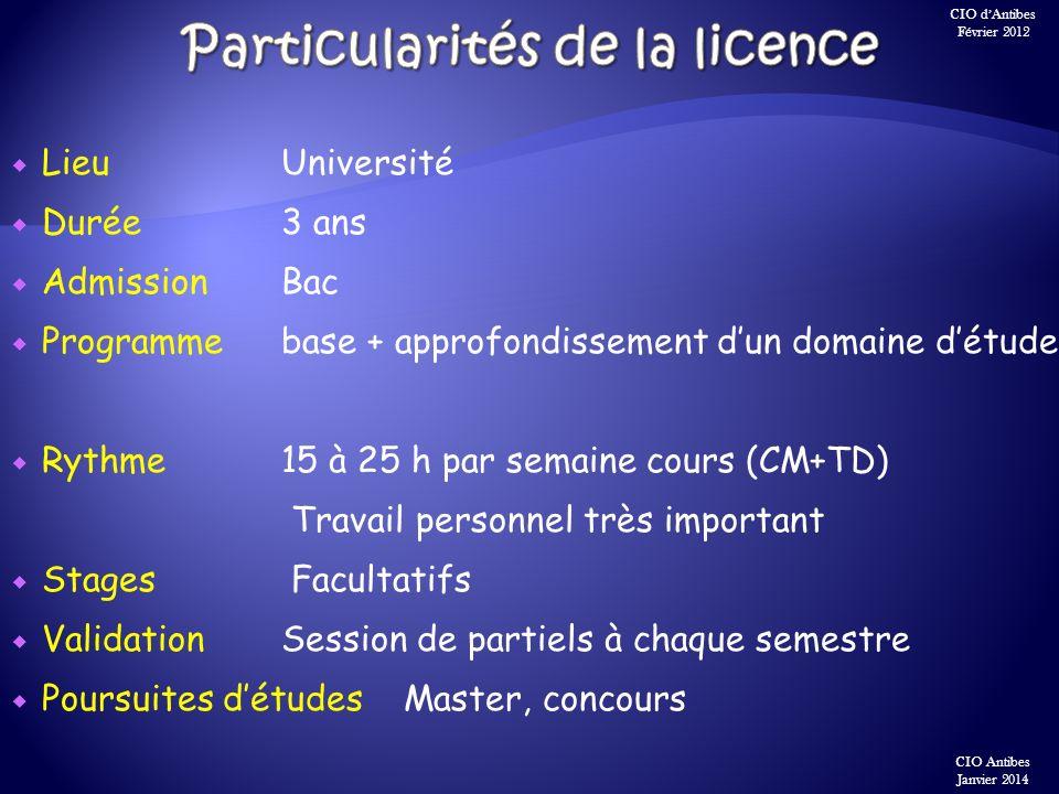 Particularités de la licence