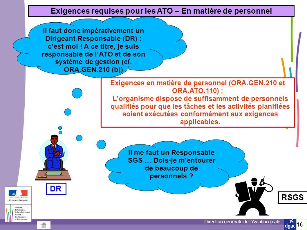 Exigences requises pour les ATO – En matière de personnel DR RSGS