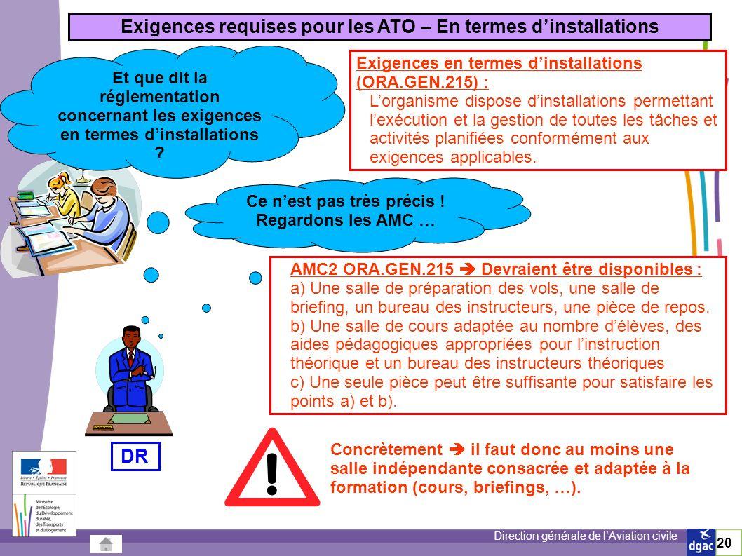 Exigences requises pour les ATO – En termes d'installations DR