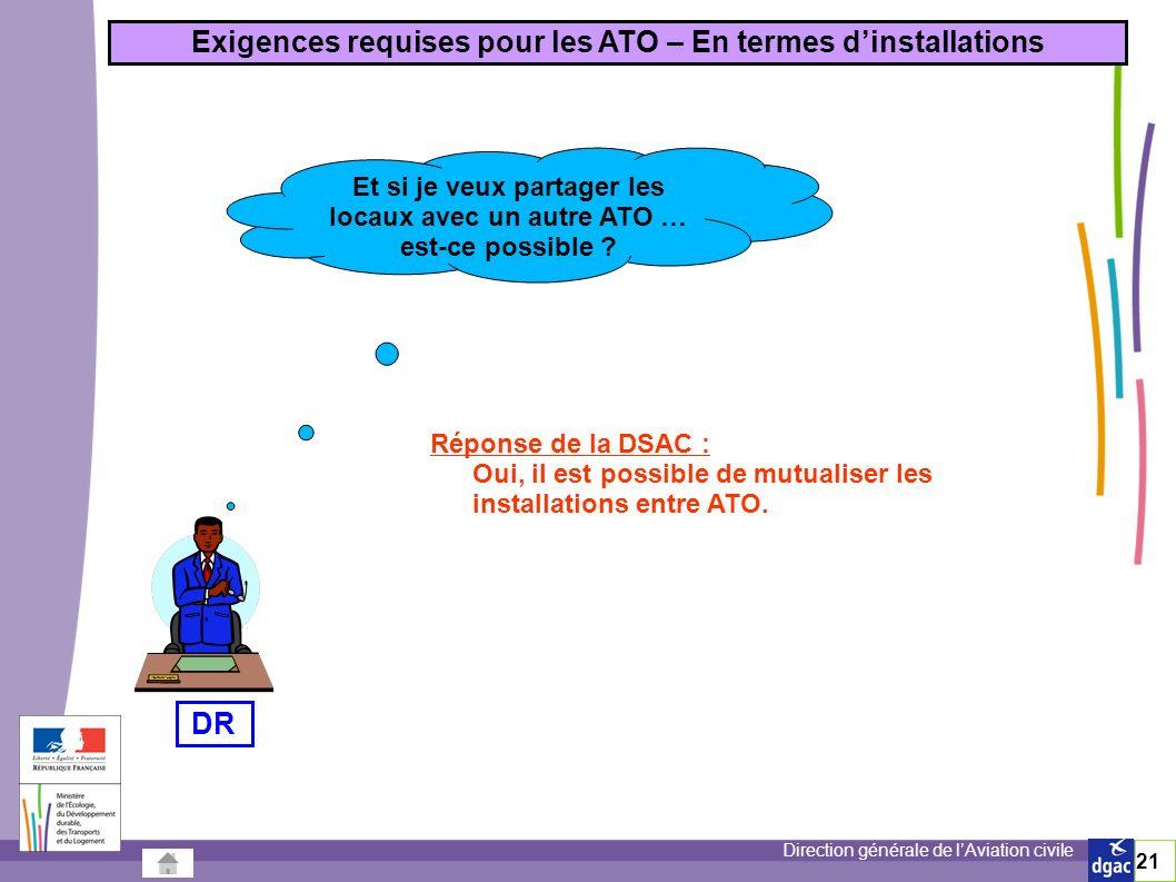 Exigences requises pour les ATO – En termes d'installations