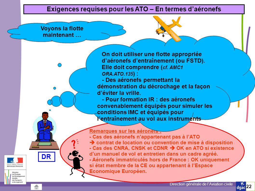 Exigences requises pour les ATO – En termes d'aéronefs DR