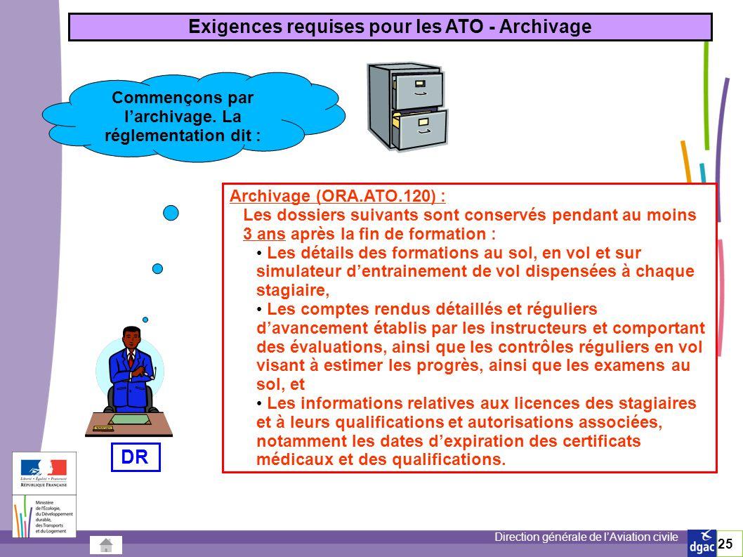 Exigences requises pour les ATO - Archivage DR