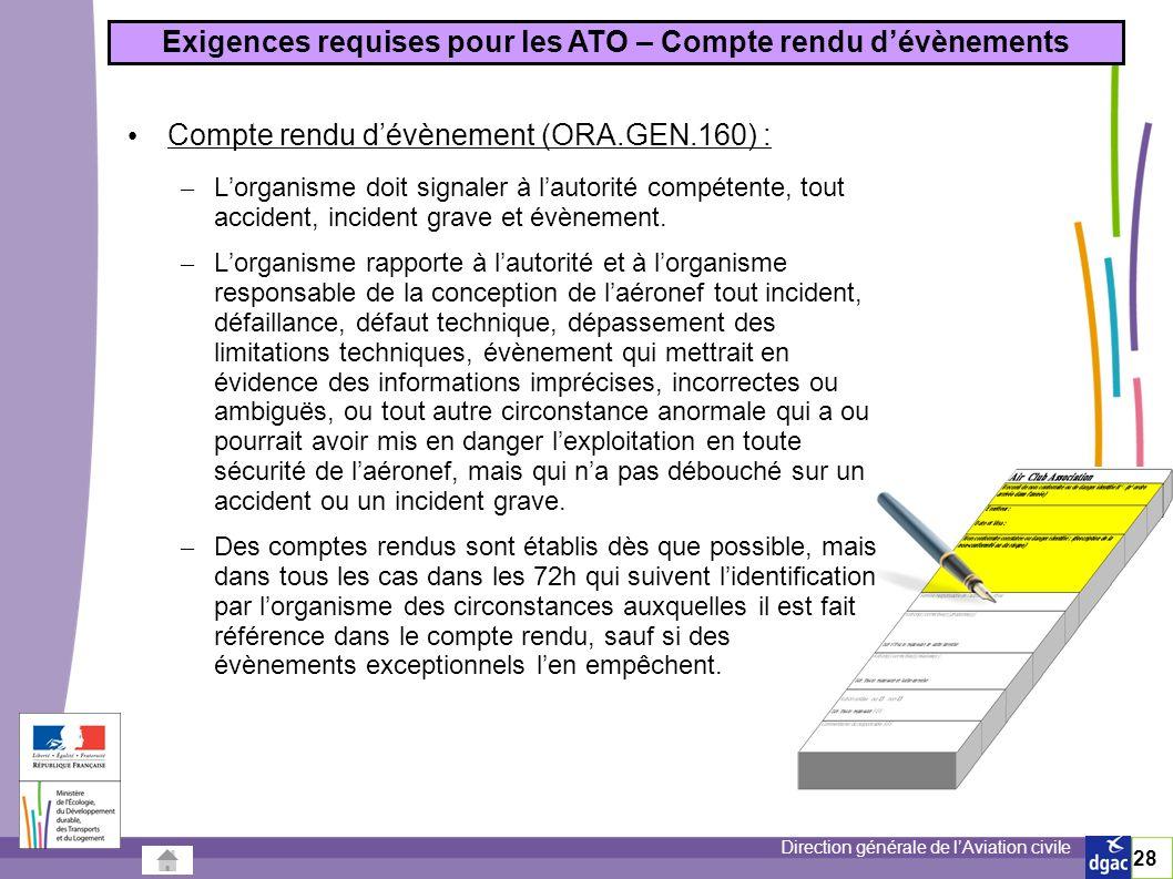 Exigences requises pour les ATO – Compte rendu d'évènements