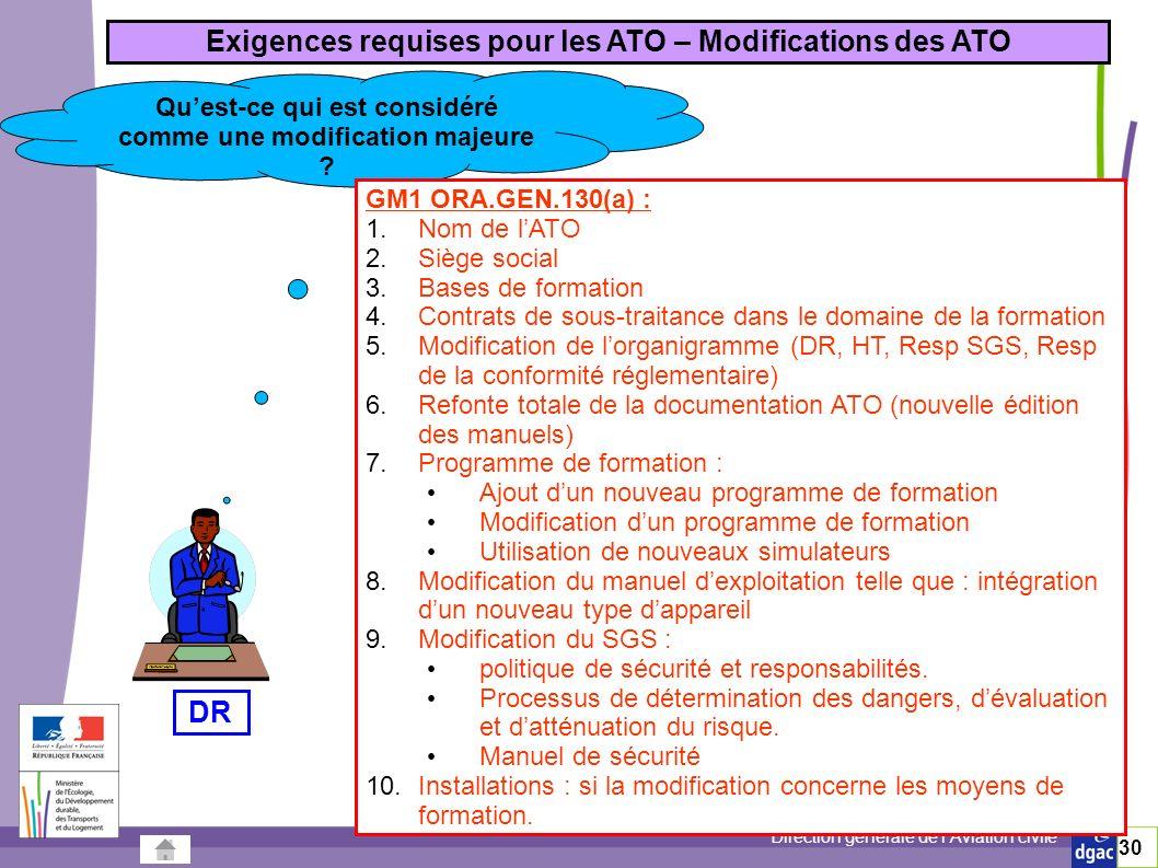 Exigences requises pour les ATO – Modifications des ATO DR