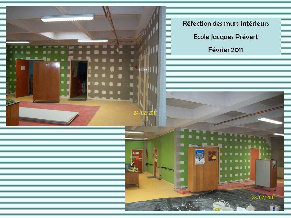 Réfection des murs intérieurs
