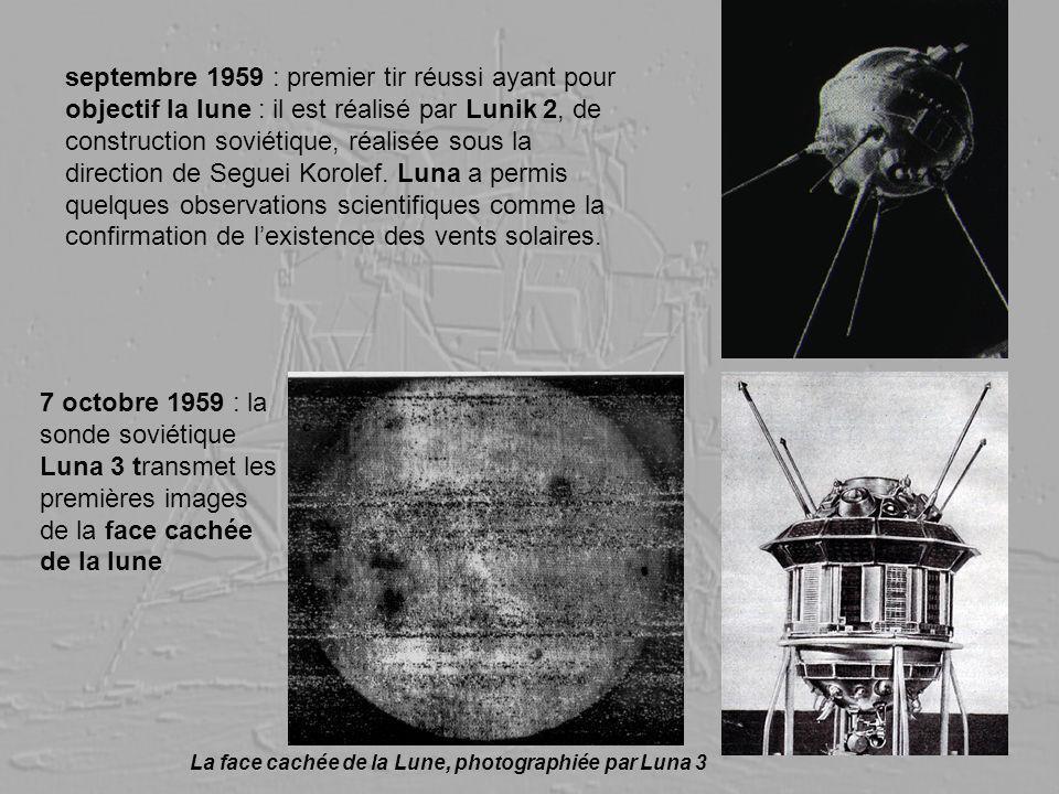 septembre 1959 : premier tir réussi ayant pour objectif la lune : il est réalisé par Lunik 2, de construction soviétique, réalisée sous la direction de Seguei Korolef. Luna a permis quelques observations scientifiques comme la confirmation de l'existence des vents solaires.