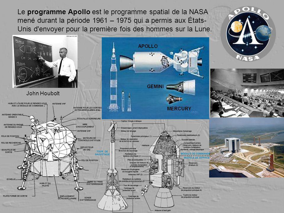 Le programme Apollo est le programme spatial de la NASA mené durant la période 1961 – 1975 qui a permis aux États-Unis d envoyer pour la première fois des hommes sur la Lune.