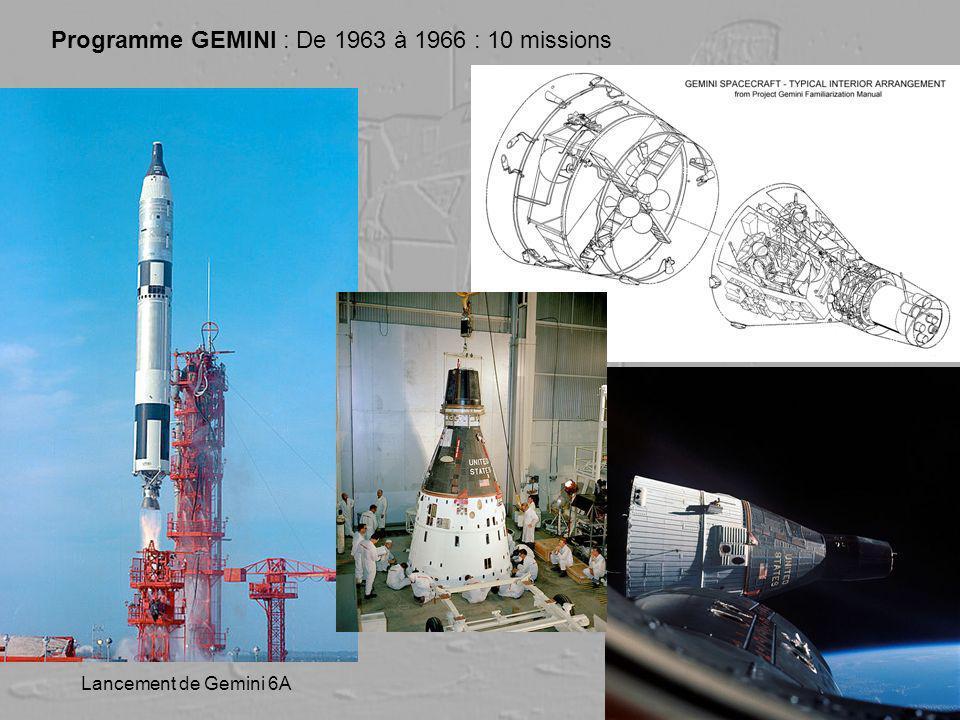 Programme GEMINI : De 1963 à 1966 : 10 missions