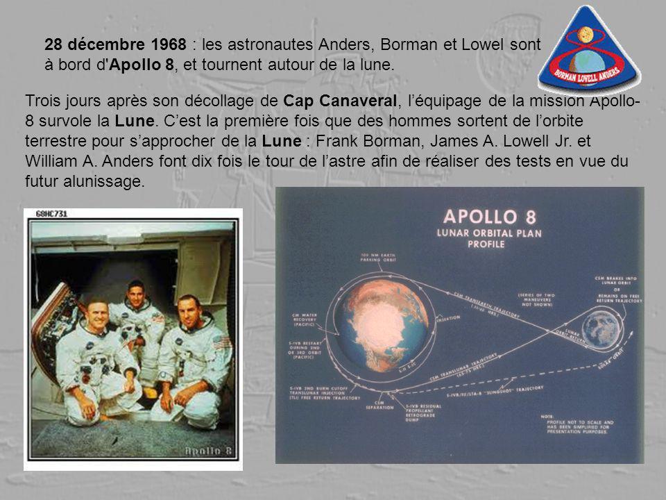 28 décembre 1968 : les astronautes Anders, Borman et Lowel sont à bord d Apollo 8, et tournent autour de la lune.