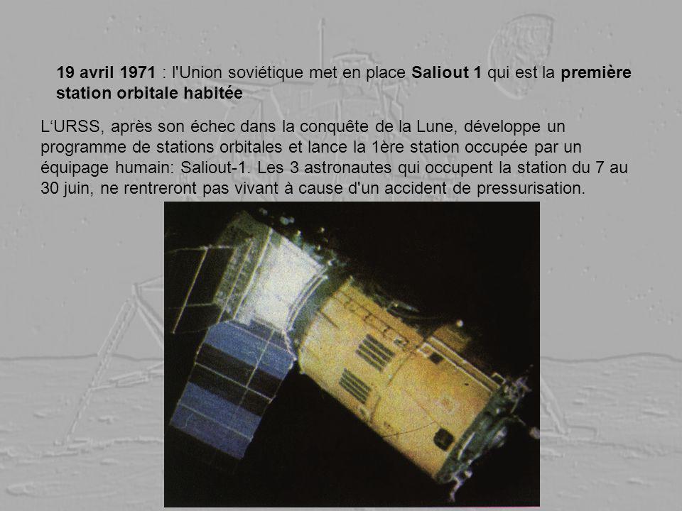 19 avril 1971 : l Union soviétique met en place Saliout 1 qui est la première station orbitale habitée
