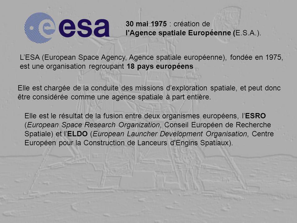 30 mai 1975 : création de l Agence spatiale Européenne (E.S.A.).
