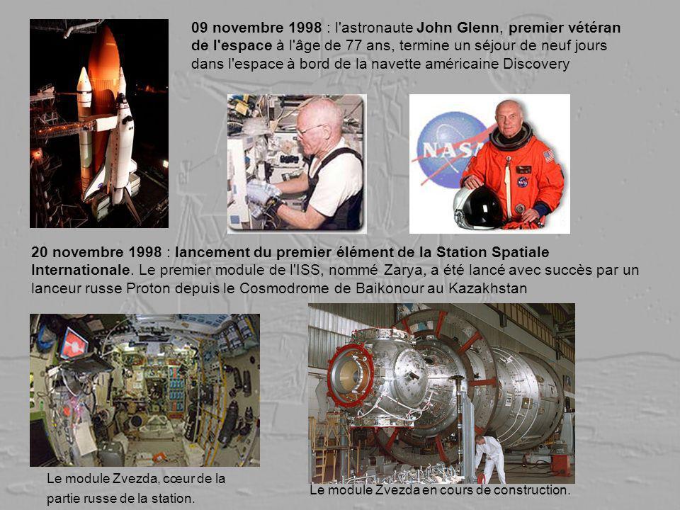 09 novembre 1998 : l astronaute John Glenn, premier vétéran de l espace à l âge de 77 ans, termine un séjour de neuf jours dans l espace à bord de la navette américaine Discovery