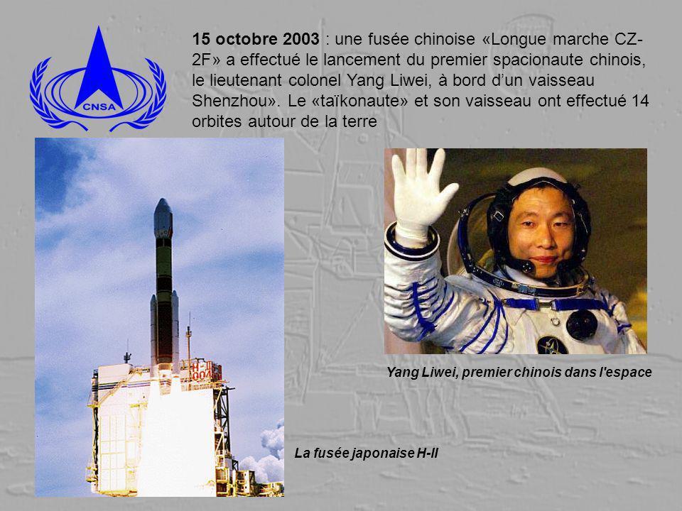 15 octobre 2003 : une fusée chinoise «Longue marche CZ-2F» a effectué le lancement du premier spacionaute chinois, le lieutenant colonel Yang Liwei, à bord d'un vaisseau Shenzhou». Le «taïkonaute» et son vaisseau ont effectué 14 orbites autour de la terre