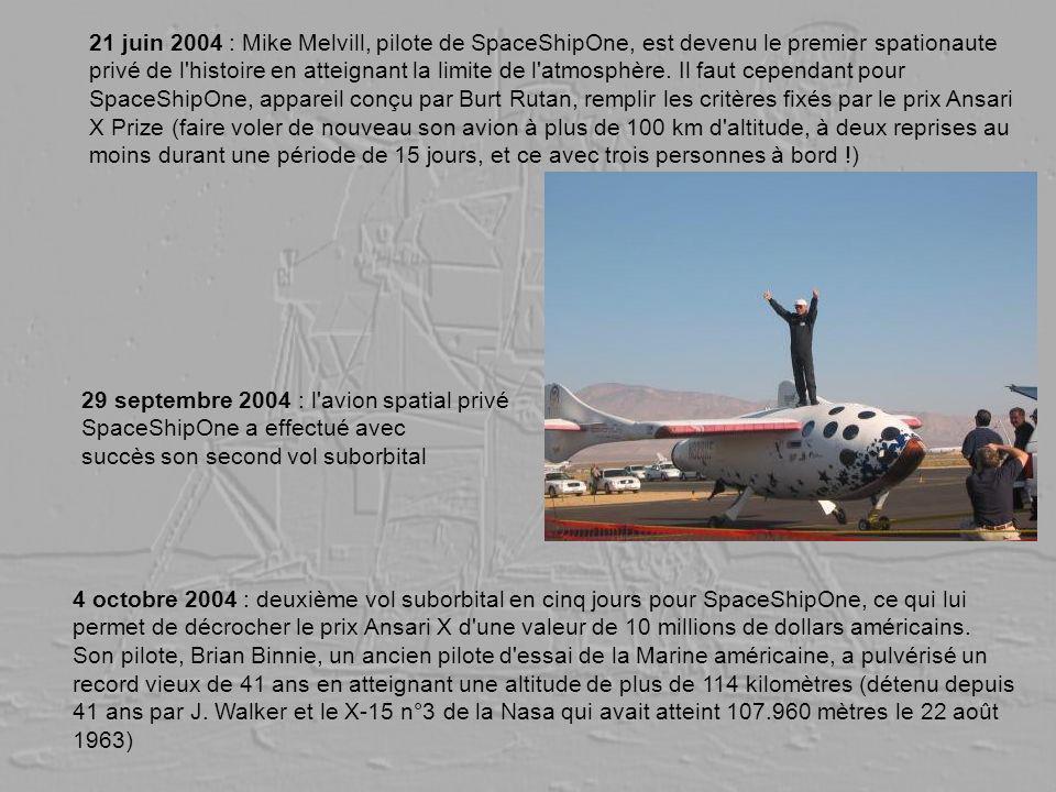 21 juin 2004 : Mike Melvill, pilote de SpaceShipOne, est devenu le premier spationaute privé de l histoire en atteignant la limite de l atmosphère. Il faut cependant pour SpaceShipOne, appareil conçu par Burt Rutan, remplir les critères fixés par le prix Ansari X Prize (faire voler de nouveau son avion à plus de 100 km d altitude, à deux reprises au moins durant une période de 15 jours, et ce avec trois personnes à bord !)