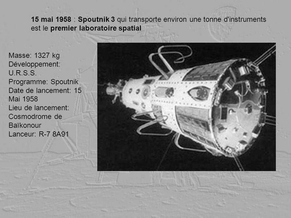 15 mai 1958 : Spoutnik 3 qui transporte environ une tonne d instruments