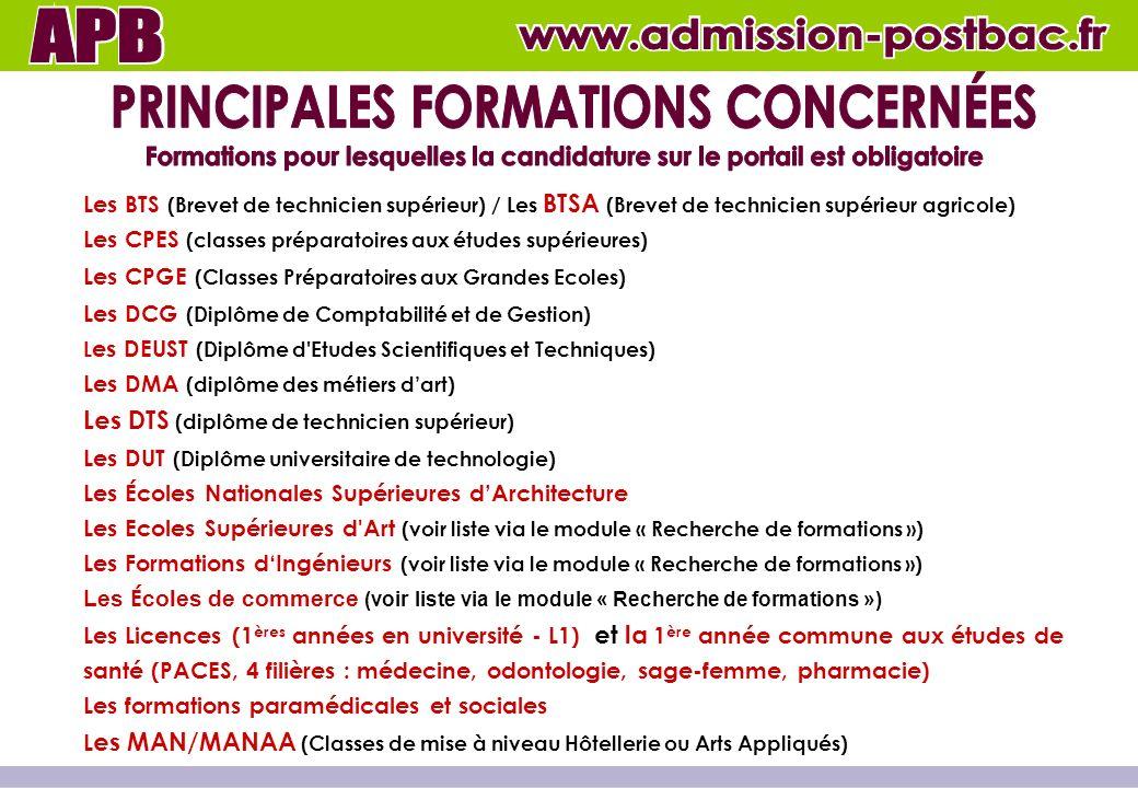 PRINCIPALES FORMATIONS CONCERNÉES