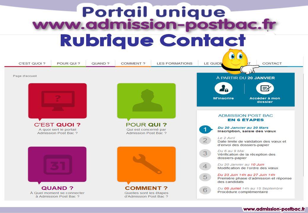 Rubrique Contact www.admission-postbac.fr www.admission-postbac.fr