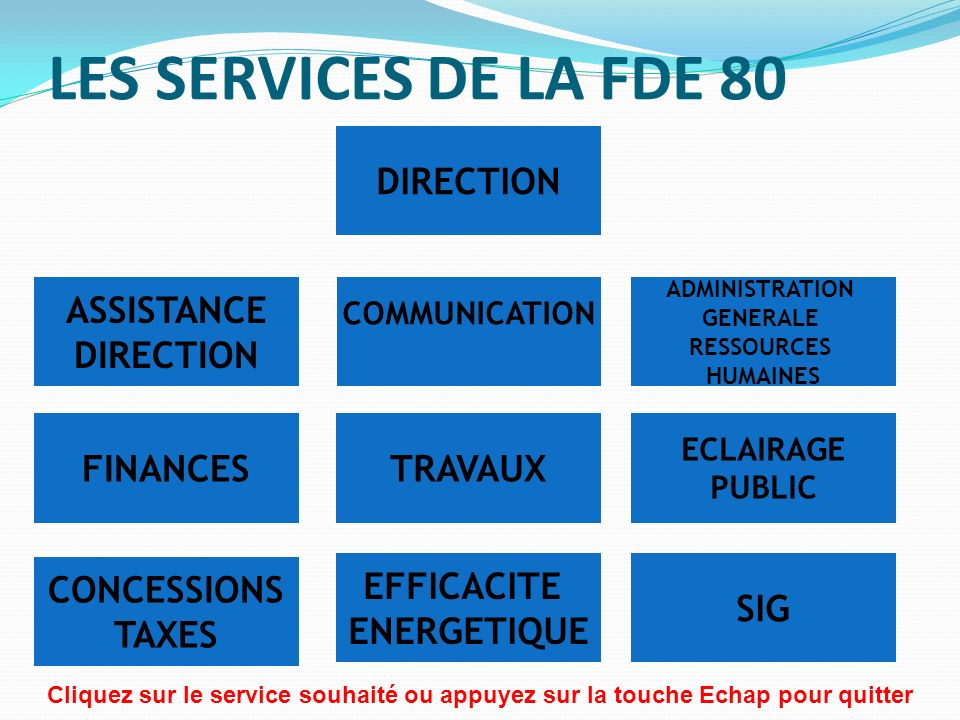 LES SERVICES DE LA FDE 80 DIRECTION ASSISTANCE DIRECTION FINANCES
