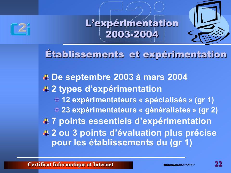 Établissements et expérimentation