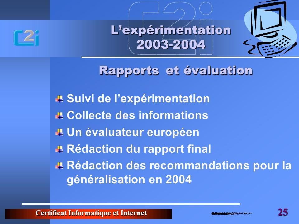 Rapports et évaluation
